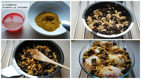 pollo asado al estilo marroquí con pasas y piñones