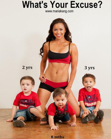 Madre de tres hijos y en perfecto estado físico gracias al ejercicio