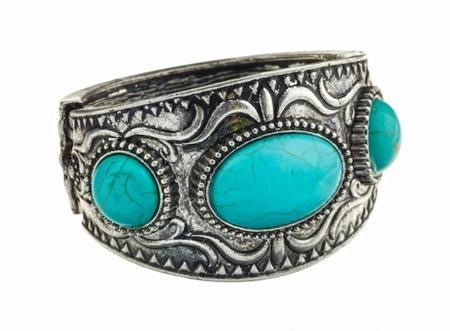 Claire S Turquoise Stones Hematite Filigree Cuff Bracelet 9