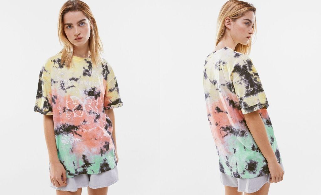 Camiseta tie-dye print mariposas