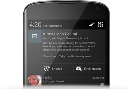 Notificaciones en Jelly Bean 4.2
