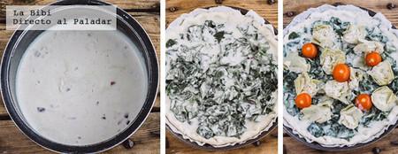 Tarta vegetariana de espinacas y alcachofas. Receta fácil