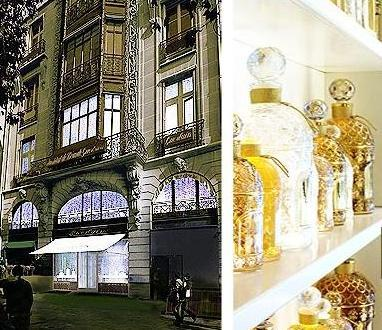 La maison Guerlain en Paris y frascos abejas blancas y doradas.