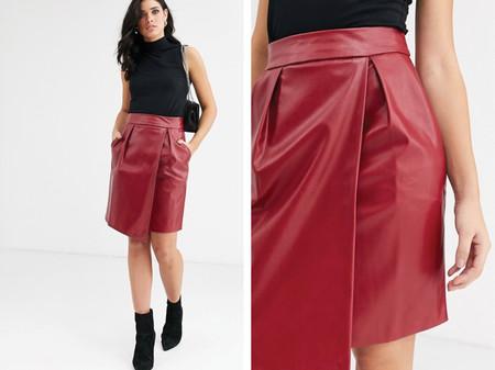 Minifalda De Cuero Sintetico De Closet