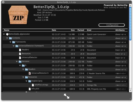 Plugin para QL de Better Zip