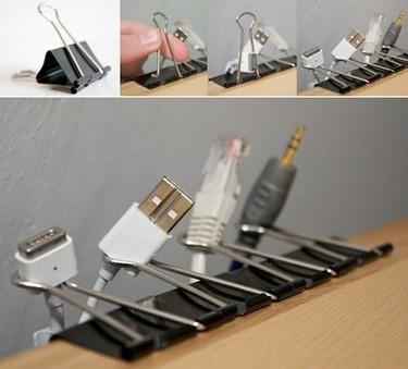 Pinzas para ordenar los cables en el escritorio
