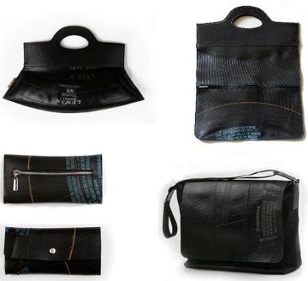 Bolsos, carteras y llaveros hechos con partes de neumáticos