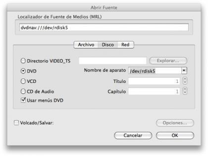 Opciones de VLC