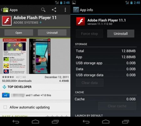 Adobe Flash Player 11 para Android con soporte para Android 4.0 Ice Cream Sandwich