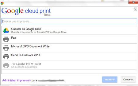 Impresoras conectadas con Google Cloud print