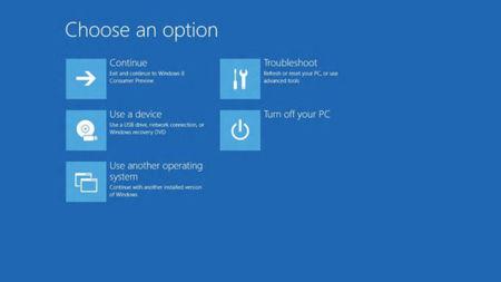 Menú de opciones de arranque de Windows 8