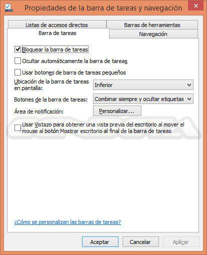 Propiedades de la barra de tareas y navegación