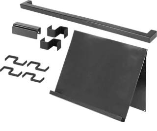 Set barra de cocina + soporte tablet DELINIA ID inox 45 cm + 6 ganchos colgar
