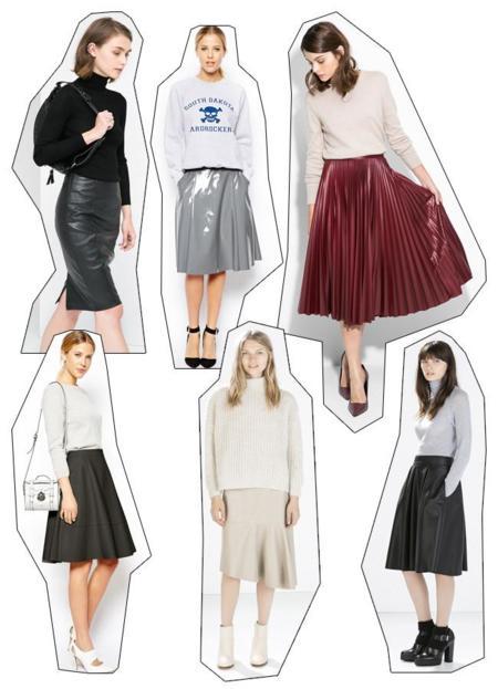 Faldas midi cuero tendencias low-cost Otoño-Invierno 2014/2015