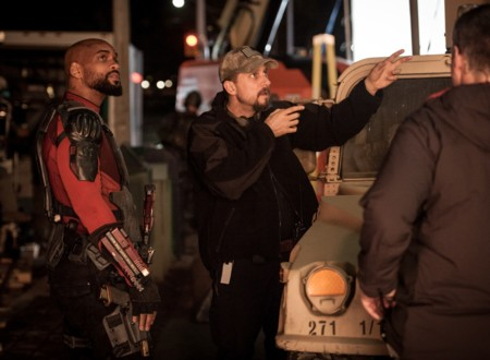 Will Smith y David Ayer en el rodaje