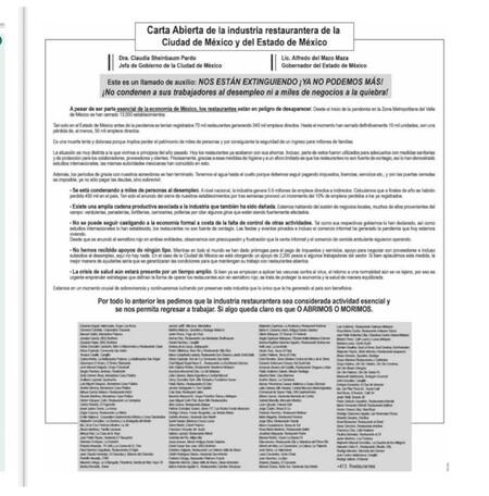Carta Abierta Restaurantes Actividad Esencial