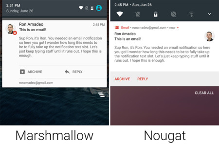 Comparacion Marshmallow Nougat Notificaciones