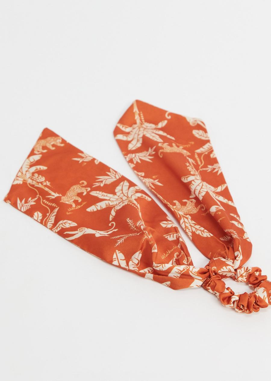 Pañuelo para la cabeza naranja con estampado de leopardo y palmeras de ASOS DESIGN