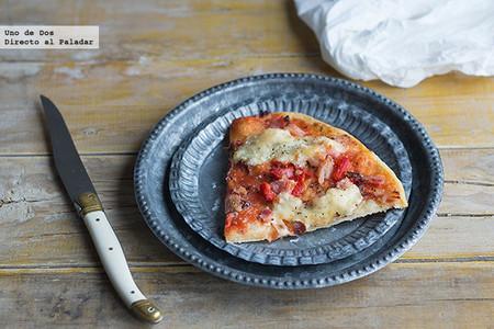 Pizza de criollo, cecina y pimiento. Receta