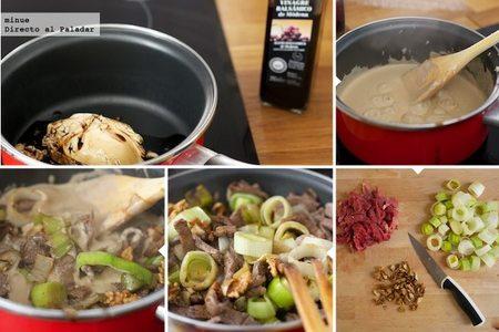 Pasta con salsa de mascarpone y ternera - elaboración