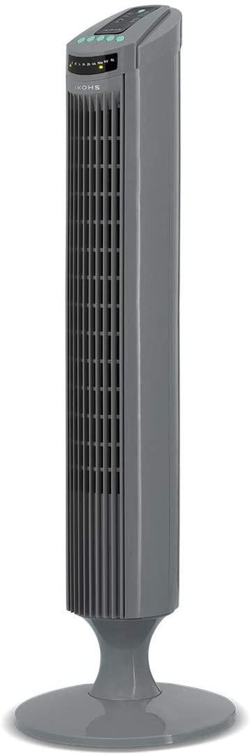 IKOHS EMPIREWIND RC - Ventilador Torre Oscilante Ultrasilencioso, Movimiento Oscilante, 3 velocidades, con Mando a Distancia, 50 W, Diseño de Vanguardia y Elegante (Gris)