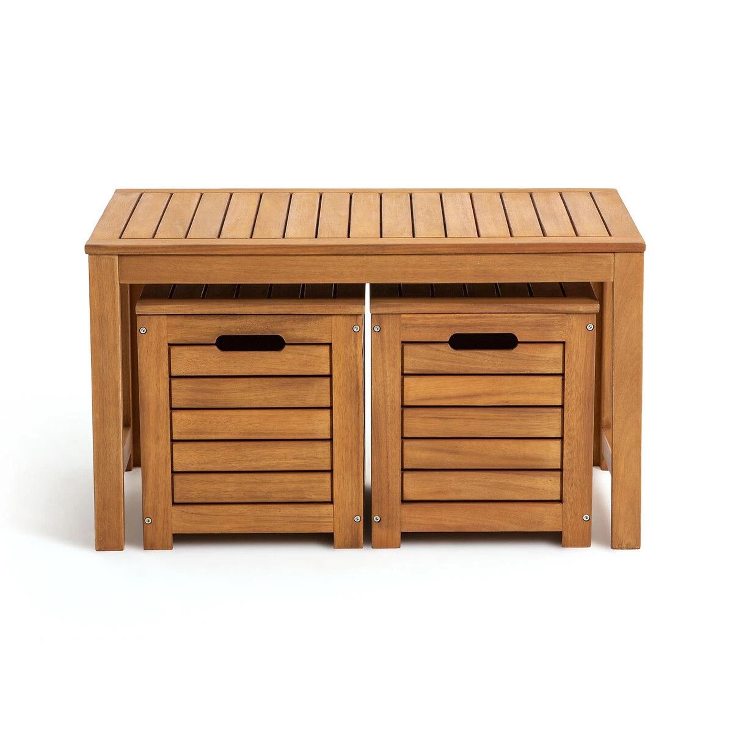 Banco y cajas de jardín de acacia