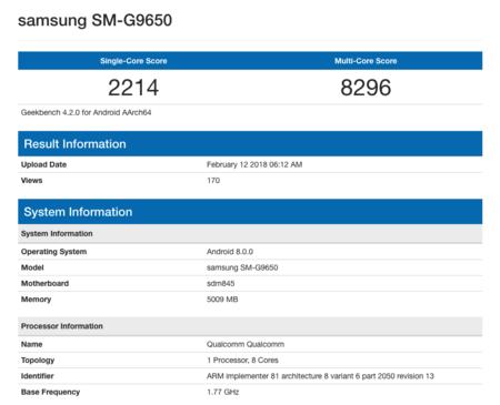 El Samsung Galaxy S9 pasando las pruebas con el Snapdragon 845
