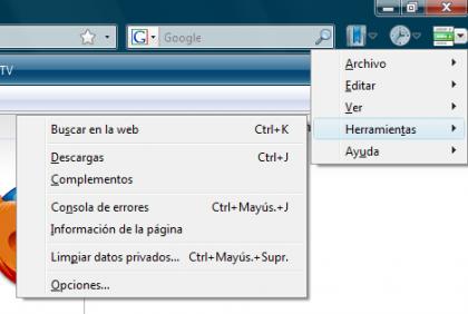 Botones de Menu en Firefox