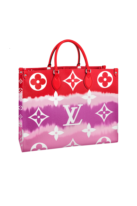 Onthego Lv Escale Toile In Monogram Giant Red Canvas