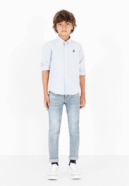 Camisa de niño de manga larga y rayas color azul claro