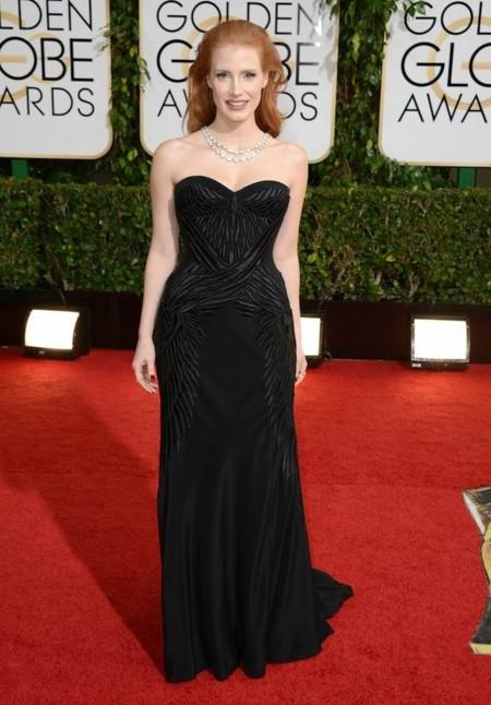 Jessica Chastain look globos de oro 2014
