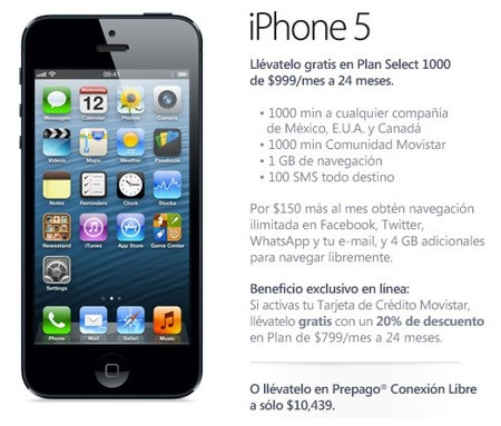 iPhone 5 16 GB Movistar México