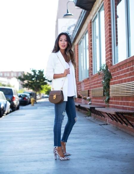Song Of Style White Blazer Ripped Skinny Jeans
