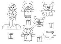 Muñecas de papel para colorear y recortar