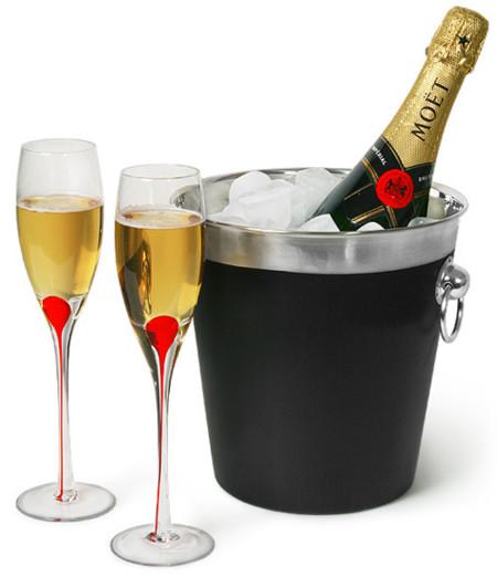 San Valentín: juego de champagne para parejas
