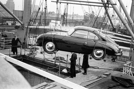 Porsche 356 embarcando para Estados Unidos