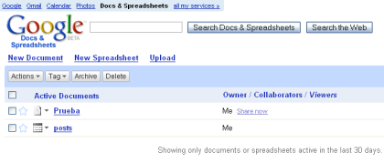 "Google Docs & Spreadsheet, un ""Mis documentos"" a la Google"