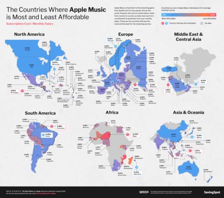 Mapa de la relación calidad de vida-precio de Apple Music para cada país.