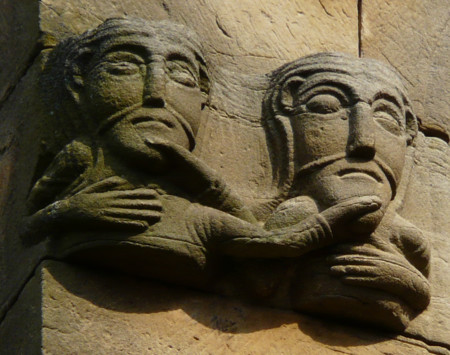 Rosheim Romanesque Sculpture Busts Of Men Holding Each Other By The Beard