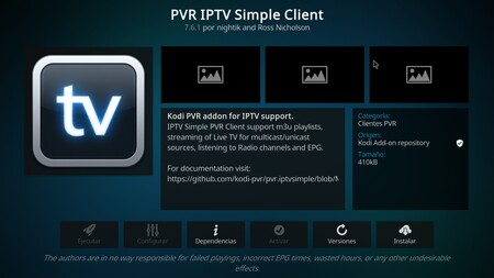 PVR IPTV Simple Client, the 'add-on' that will allow us to watch IPTV.