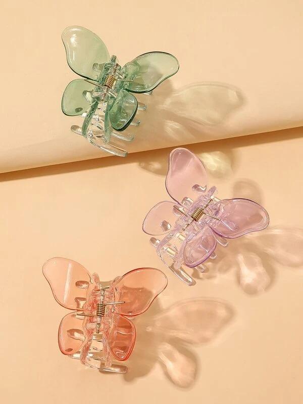 3 piezas Garra de pelo con mariposa