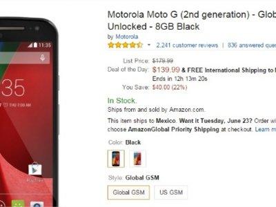 Moto G 2014 a sólo 140 dólares en Amazon con envío a México