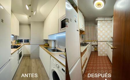 Antes y después de una cocina sin obras que (por fin) dice adiós a los azulejos setenteros