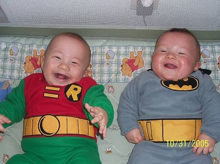 Batman And Robin Nerd Babies Laugh