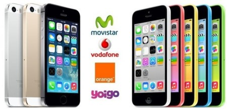 Comparativa precios iPhone 5S y iPhone 5C con tarifas de Movistar, Vodafone, Orange y Yoigo
