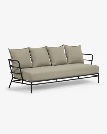 Sofá Mareluz de 3 plazas acero negro 197 cm