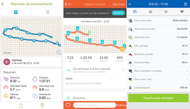 Runkeeper, Endomondo y Runtastic Pro