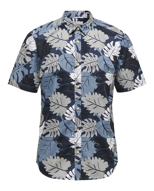 Camisa popelín de hombre slim estampada azul