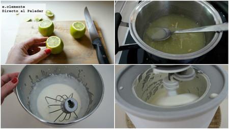 Mousse helada de lima y queso crema