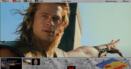 La escena del desembarco de Troya con Brad Pitt es inmensamente mejor con sonidos del primer Age of Empires. Y sí, hay WOLOLO